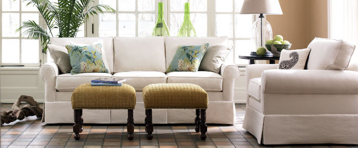Norwalk Furniture Beacon Hill Sofa & Chair with Essex Ottomans