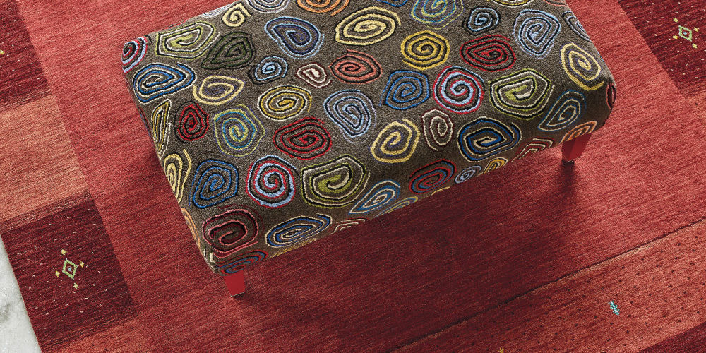 Company C Spirals Rug Ottoman on Seville Rug